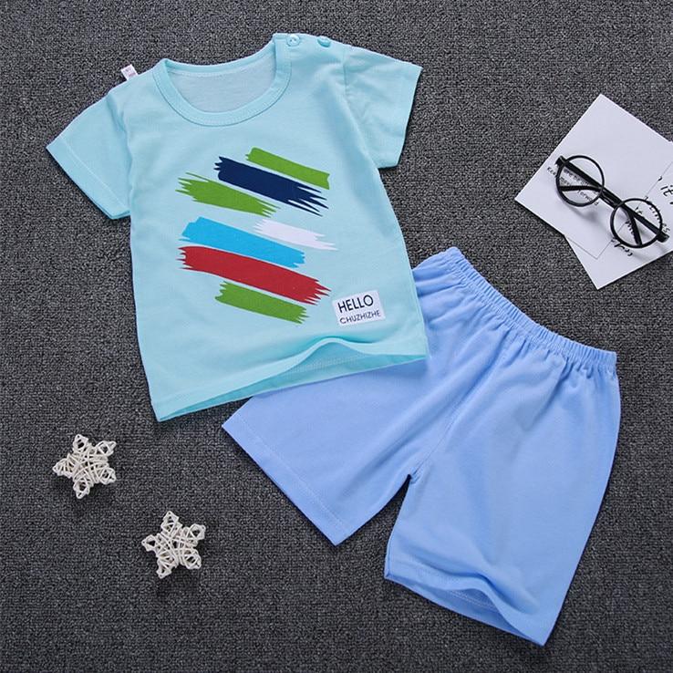Summer Baby Boy Girl T Shirts Sets Children Clothes Boys Print Shorts 2 pcs Kids Cotton Shirt Girls