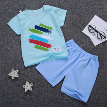 Summer Baby Boy Girl T Shirts Sets Children Clothes Boys Print Shorts 2 pcs Kids Cotton Shirt Girls