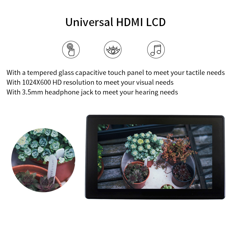 2Pcs <font><b>Raspberry</b></font> <font><b>Pi</b></font> <font><b>4b</b></font> 3b+ 3b 7-inch display Capacitive touch IPS <font><b>screen</b></font> HDMI support VGA input image