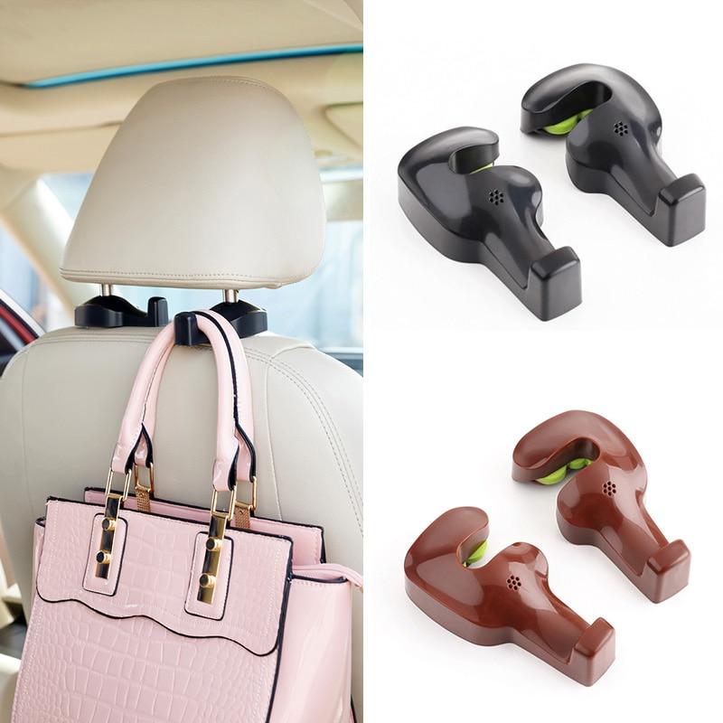 2pcs car seat back headrest hanger hooks fastener clip interior accessories auto bags purse. Black Bedroom Furniture Sets. Home Design Ideas
