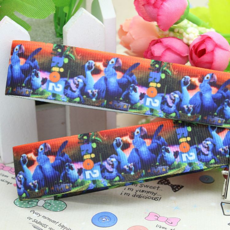 7/8'' Free shipping Rio 2 printed grosgrain ribbon hairbow party decoration diy wholesale OEM 22mm P2530