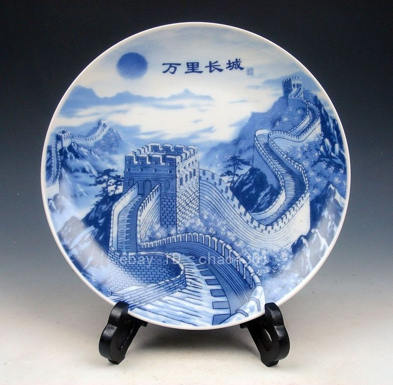 Chinese Blue White Great Wall China Hand Painted Porcelain Plate(qianlong mark) home decoration
