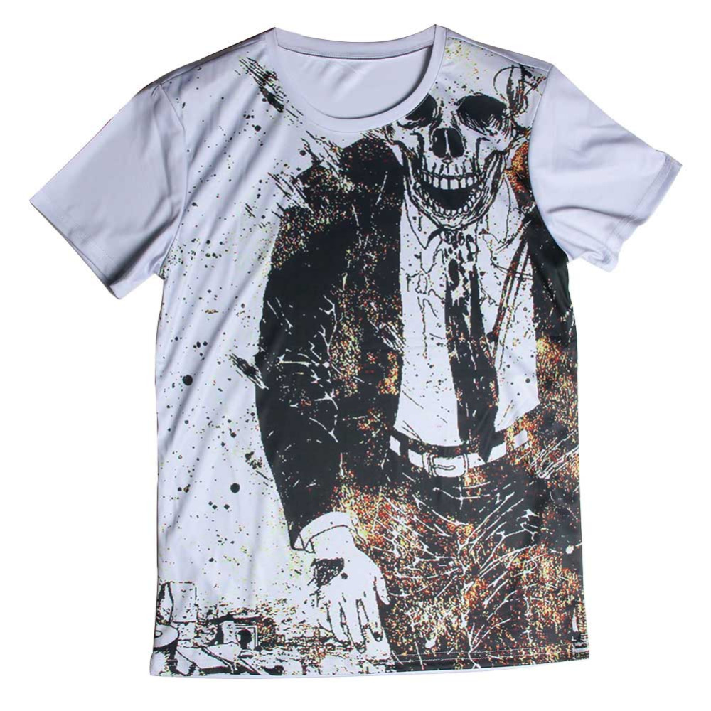New fashion plain t shirt skull design men tshirt printed for Printed custom t shirts