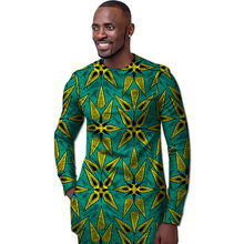 Fashion wax patterns long sleeve shirt men o-neck African shirt dashiki  print tops Africa 58fd25e98ce8