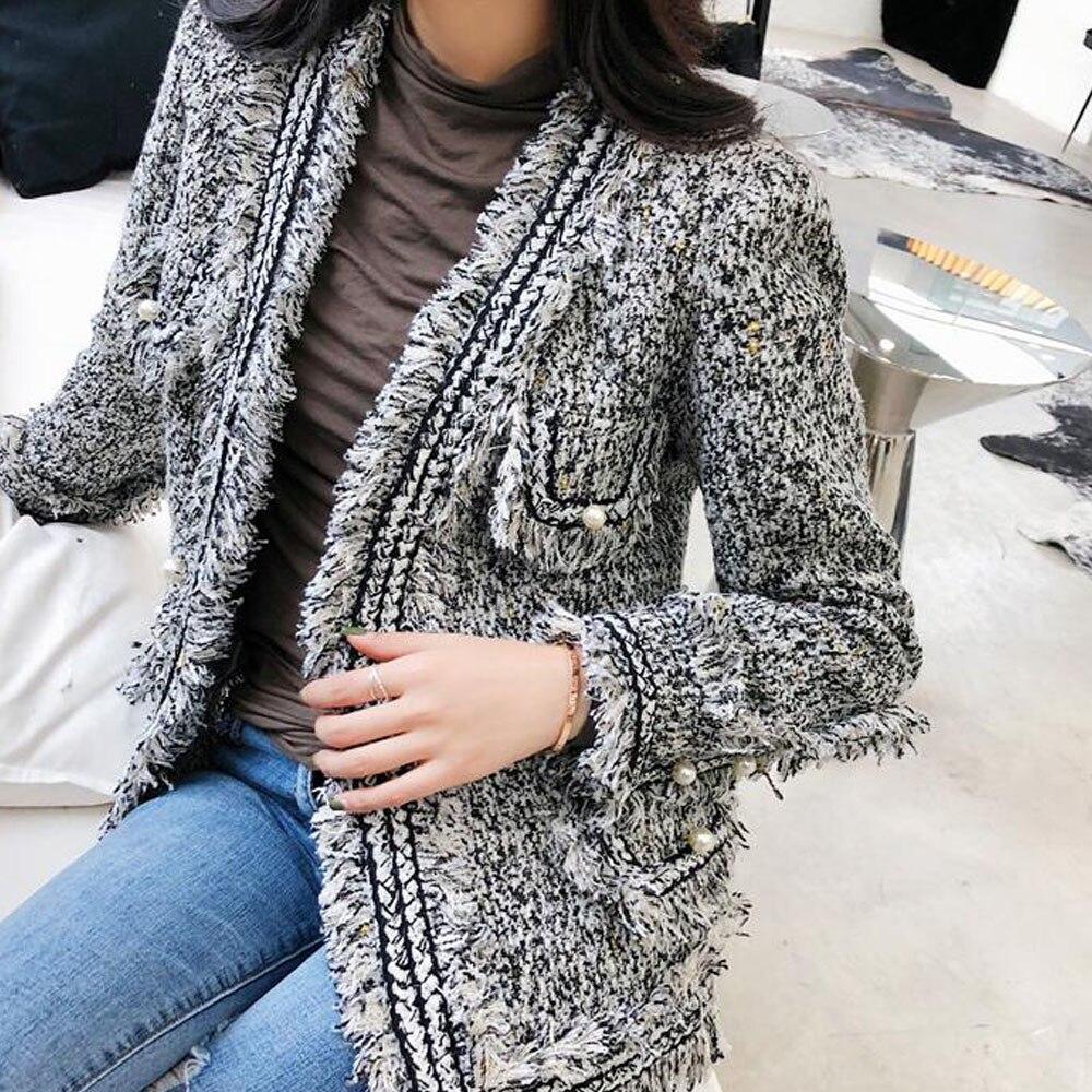 Yuxinfeng Automne Hiver Femmes Gris De Manteaux Perlé Laine Mode Dame Veste Femelle 2019 Poches Gland Tweed xWgWBT
