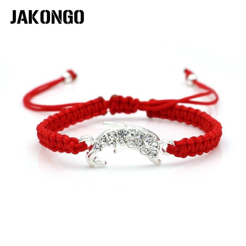 JAKONGO Crystal Dolphin Charm Braided Bracelet Red Rope Bracelet for Women Men Adjustable Handmade Bracelet