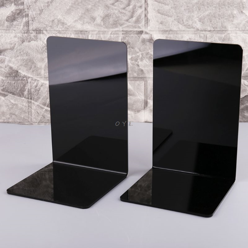 2Pcs Black Acrylic Bookends L-shaped Desk Organizer Desktop Book Holder School Stationery Office Accessories