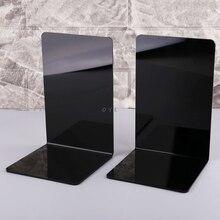 2Pcs Black Acrylic Bookends L-shaped Desk Organizer Desktop Book Holder School Stationery Office Accessories