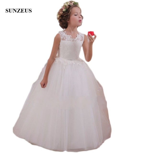 White Flower Girl Dresses Kids Ball Gowns First Communion Dresses Pageant  Girls Glitz Beaded Sequins Lace Tulle Dresses S1513 1ece51e365d1
