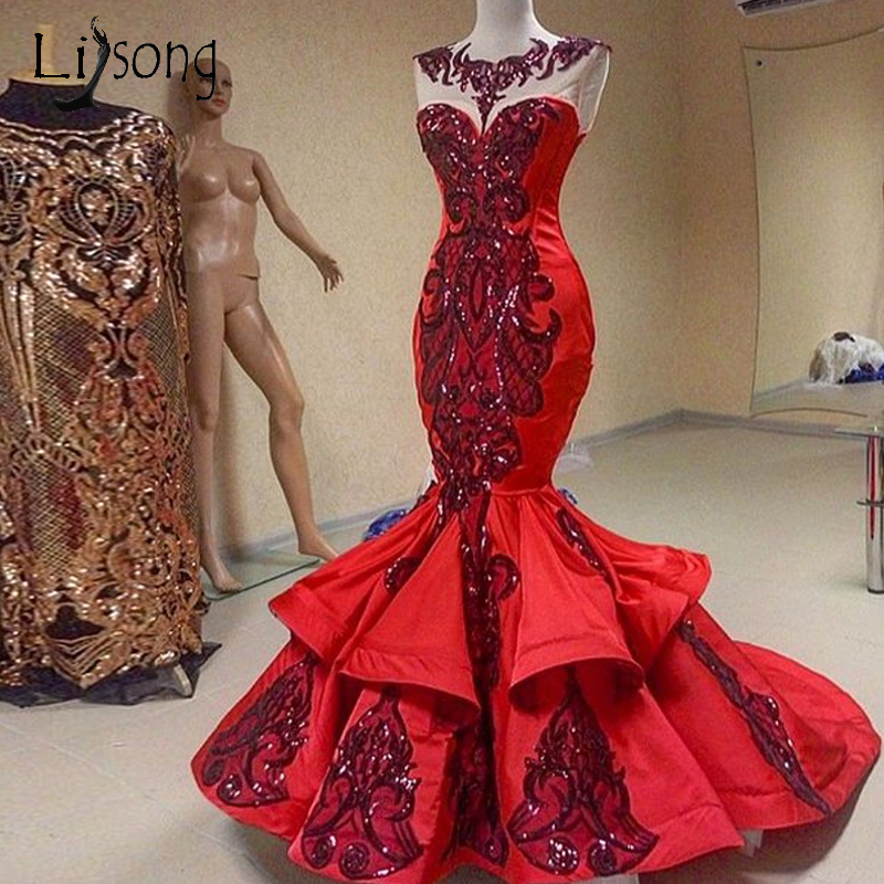 Vintage Dubai Red Mermaid Prom Dresses Shiny Sequined Lace Long Prom Gowns Ruffles Vintage Formal Evening Party Dress Abiye