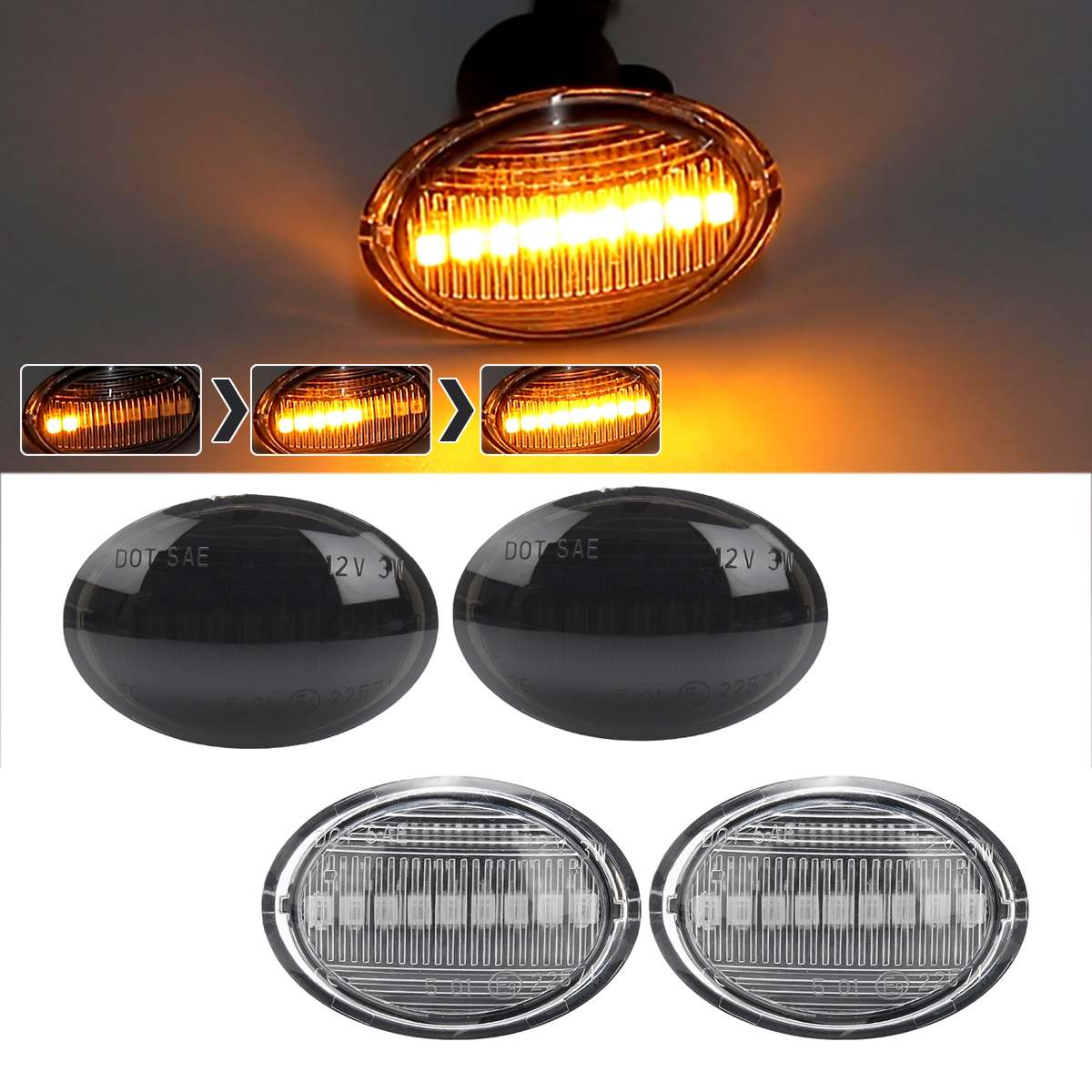 Pair Dynamic LED Side Marker Lights Flowing Turn Signal Light Side Repeater Lamp 12V Panel Lamp For Maserati For Lancia For Fiat