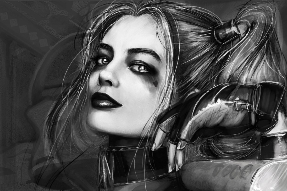 Margot Robbie Quinn Suicide Squad comic girl monochrome EY30 room home wall modern art decor wood frame poster