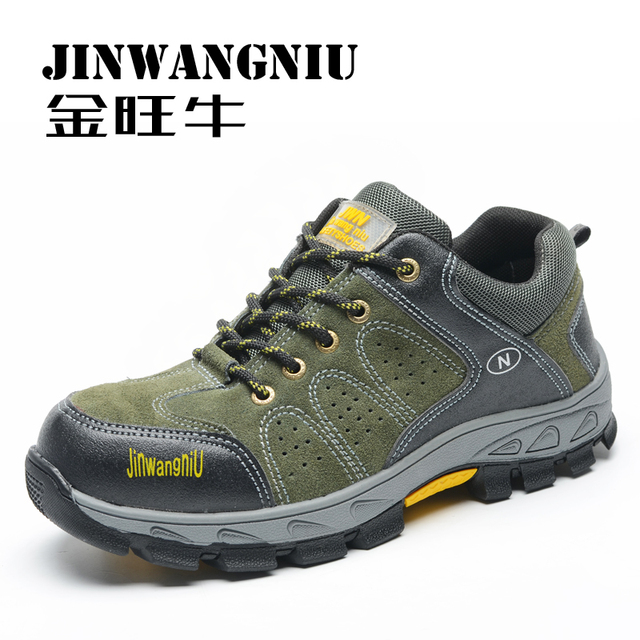 men breathable steel toe caps work safety hiking shoes platform suede leather tooling boots spring autumn climbing zapatos male