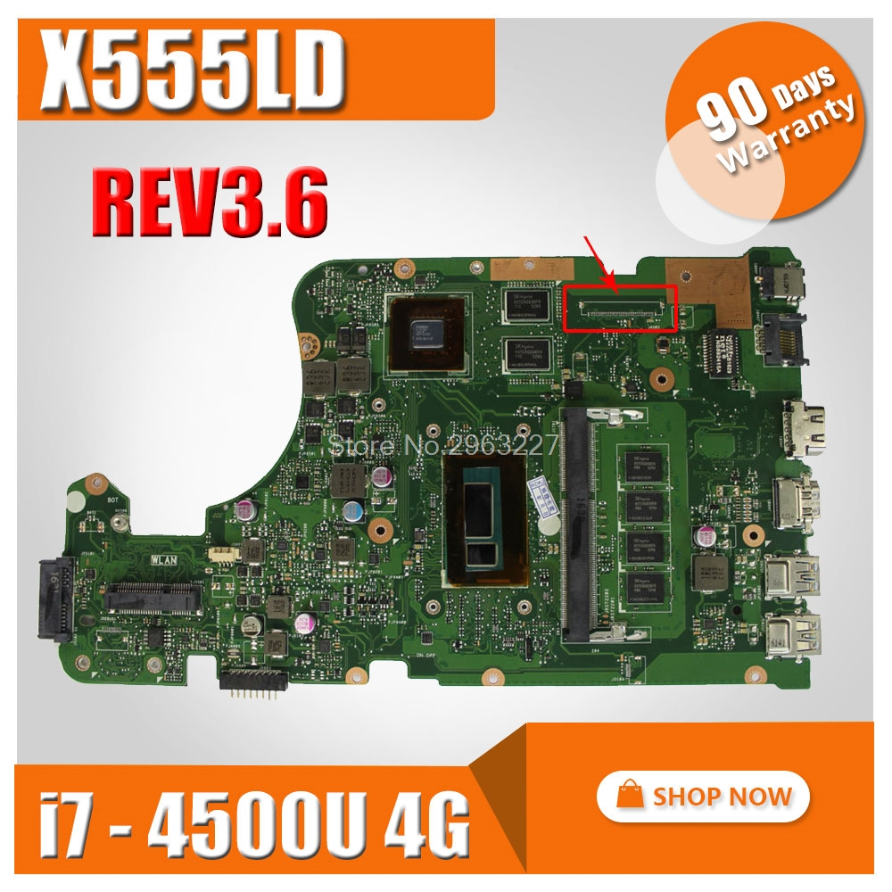 Original X555LD for ASUS X555L X555lD X555LD X555LDB Motherboard REV 3.6 Mainboard with i7 CPU GT840M 60NB0620-MB3820 100% test for asus s551lb s551ln s551la r553l mainboard motherboard non integrated gt840m 2gb n15s gt s a2 with i7 4500 cpu sr16z tested