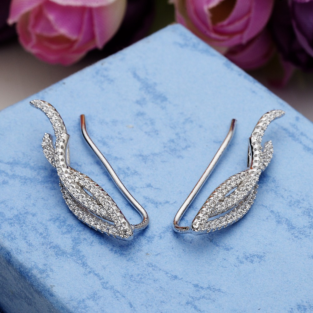Bella Fashion 925 Sterling Silver Leaf Sweep Ear Cuff Wrap Crawler Vine Cubic Zircon Bridal Earrings For Wedding Party Jewelry цена