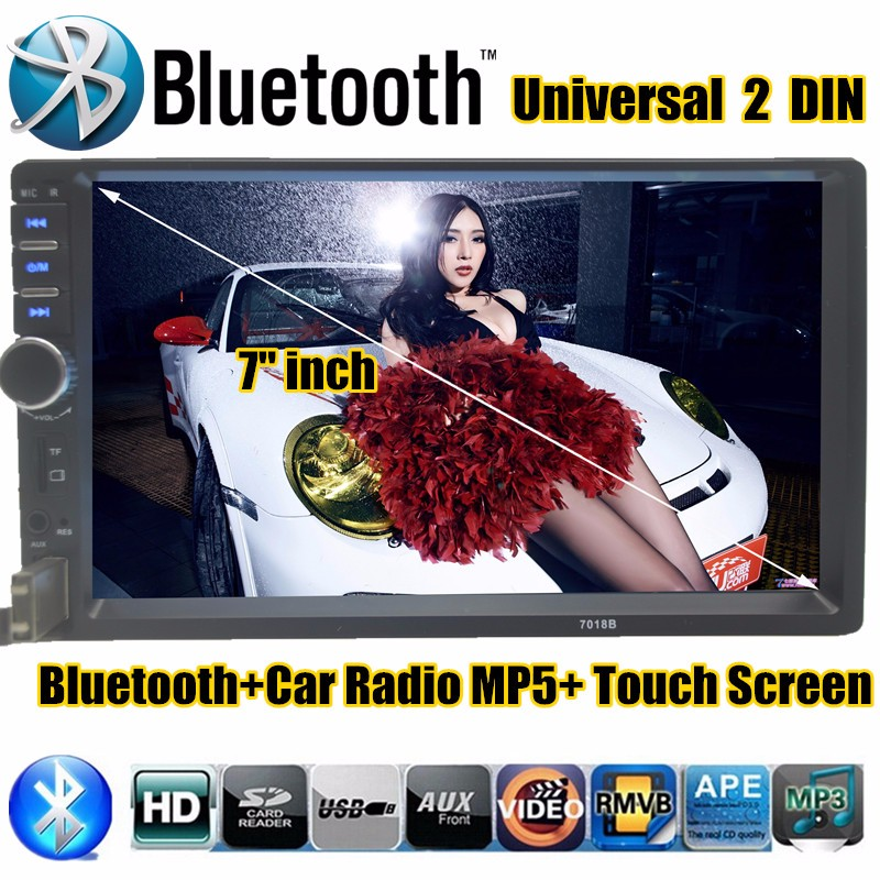 ФОТО 7''inch 2 DIN HD Touch Screen Universal In Dash Car Radio Stereo for rear camera MP5 MP4 Bluetooth Auto Hands-free TF/USB/AUX