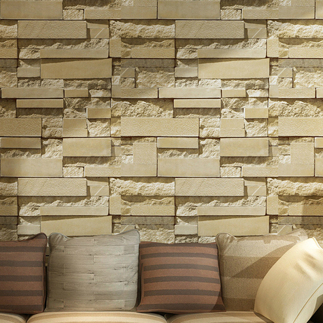 3d Slate Stone Brick Effect Wallpaper Roll Grey Yellow Wall Paper For Living Room Store