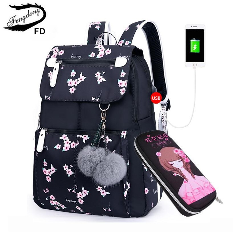 FengDong Kids Black Pink Floral School Backpack Children School Bags For Girls Student Girl Cute Pen Pencil Bag Set Dropshipping