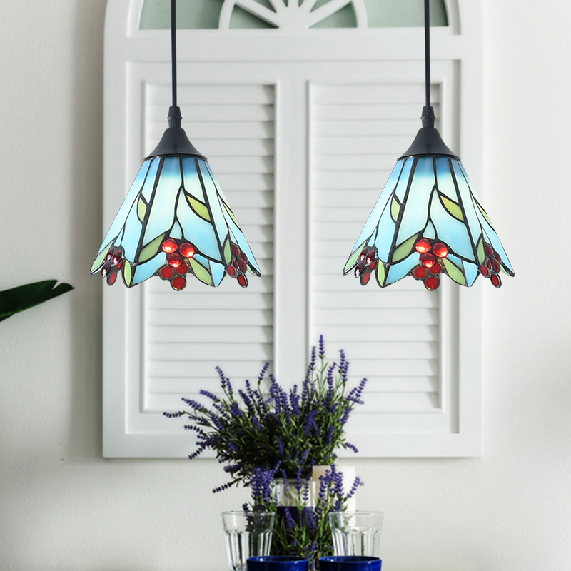 American three chandeliers glass Mediterranean restaurant creative dining room warm pastoral chandeliers CL DF73 3 4 6 8 head american pastoral sitting room dining room study bedroom chandeliers cloth art act the role ofing