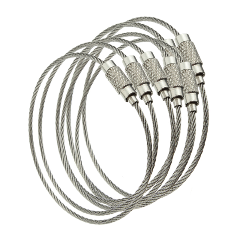 100pcs Stainless Steel Screw Locking Wire Keychain Cable