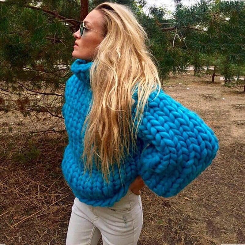 2017 diseño de moda puro hecho a mano grueso suéter abrigo mujer invierno grueso cálido de cuello alto blanco suéter-in Pulóveres from Ropa de mujer    2