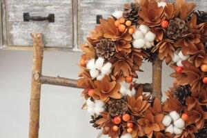 Image 2 - Декор урожая сельский дом венок природа цветы хлопок дерево деревенский осенний Декор висящий передний дверной венок День благодарения венок