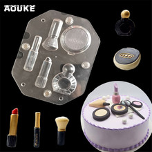 ФОТО new 3d cosmetic kit shape chocolate mold dessert transparent plastic molds diy cake decoration mould making pastry candy tools