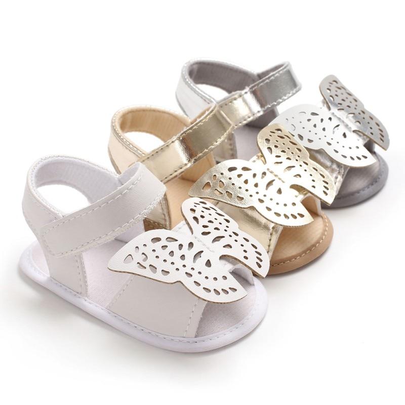 Summer Butterfly Baby Girl Sandals Newborn Baby Shoes Fashion PU Butterfly Baby Girl Shoes Princess Sandals