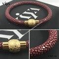 Роскошный модный вино красное браслет для любителей подлинная ската кожаный браслет с подарочной коробке рождественский подарок пара браслет