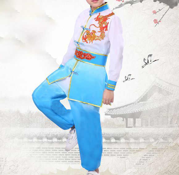 Top qualität kinder stickerei drachen kung fu wushu kleidung Kinder tai chi ausbildung anzüge martial arts uniformen blau/rose