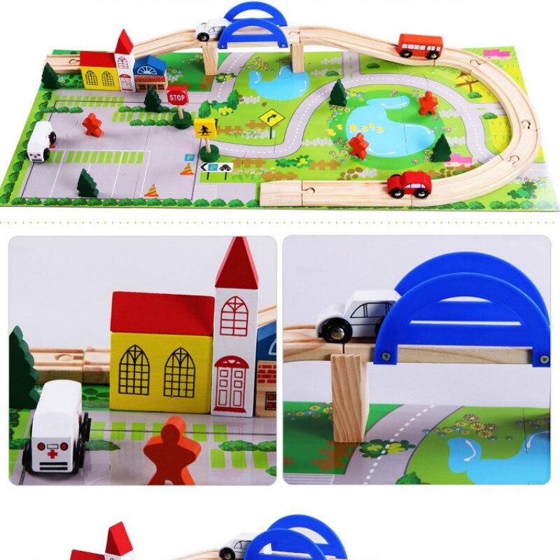 Train jouet véhicules enfants jouets Train jouet modèle voitures en bois voiture Puzzle bâtiment fente voie Rail Transit Parking Carage 40psc