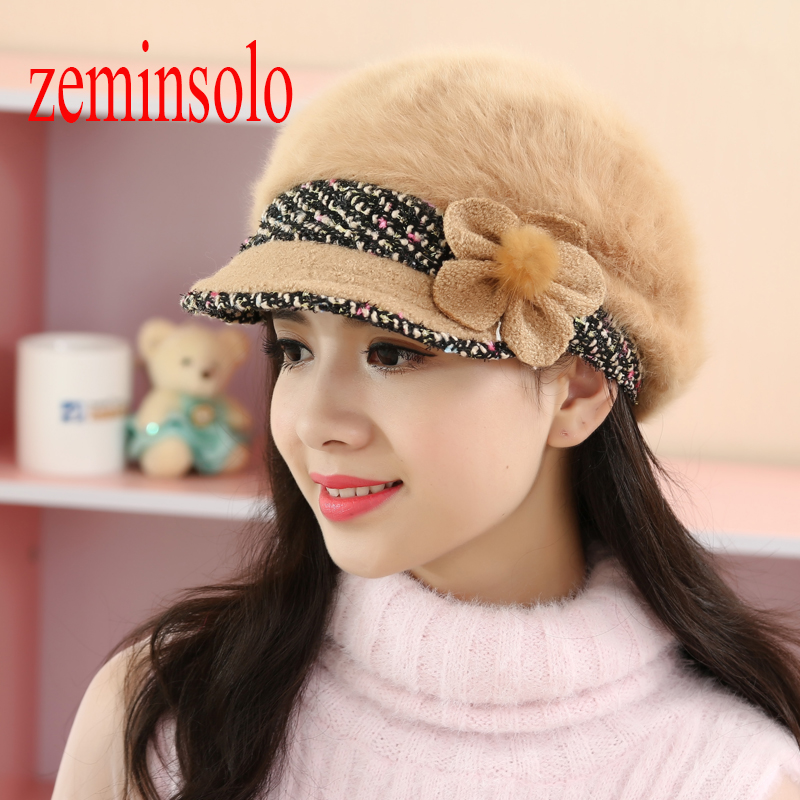 Brand Rabbit Fur Floral Hat Caps Winter Warm Women's Hats For Women Girls Wool Hats Knitted   Skullies     Beanies   Thick Female Hats
