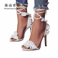 Hot Women Pumps 2019 Women Fashion Peep Toe Thin Heels Shoes Gladiator Lace Up Ankle Strap Ruffles Party Shoes Summer Pumps