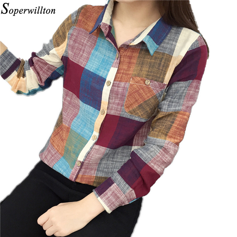 Soperwillton 2018 Women Tops and Blouses Plaid Linen Long Sleeve Elegant Blouse Shirt Casual Spring Womans Shirts  S-2XL #B813