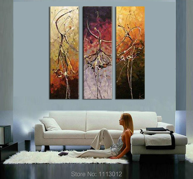 Modern Knife Ballet Angel Dancer Oil Painting Wall Pictures For Living Room Home Decoration Abstract Art 3 Panel Set On Canvas