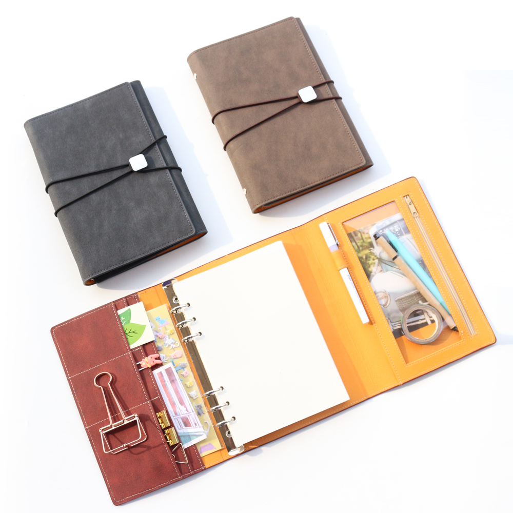 Domikee Classic Vintage Leather Office School Spiral Notebooks Stationery Supplies,fine Bandage Binder Agenda Planner Organizer
