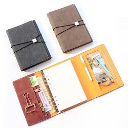 Domiki clásico vintage cuero Oficina escuela espiral cuadernos papelería suministros, carpeta fina vendaje agenda planificador organizador
