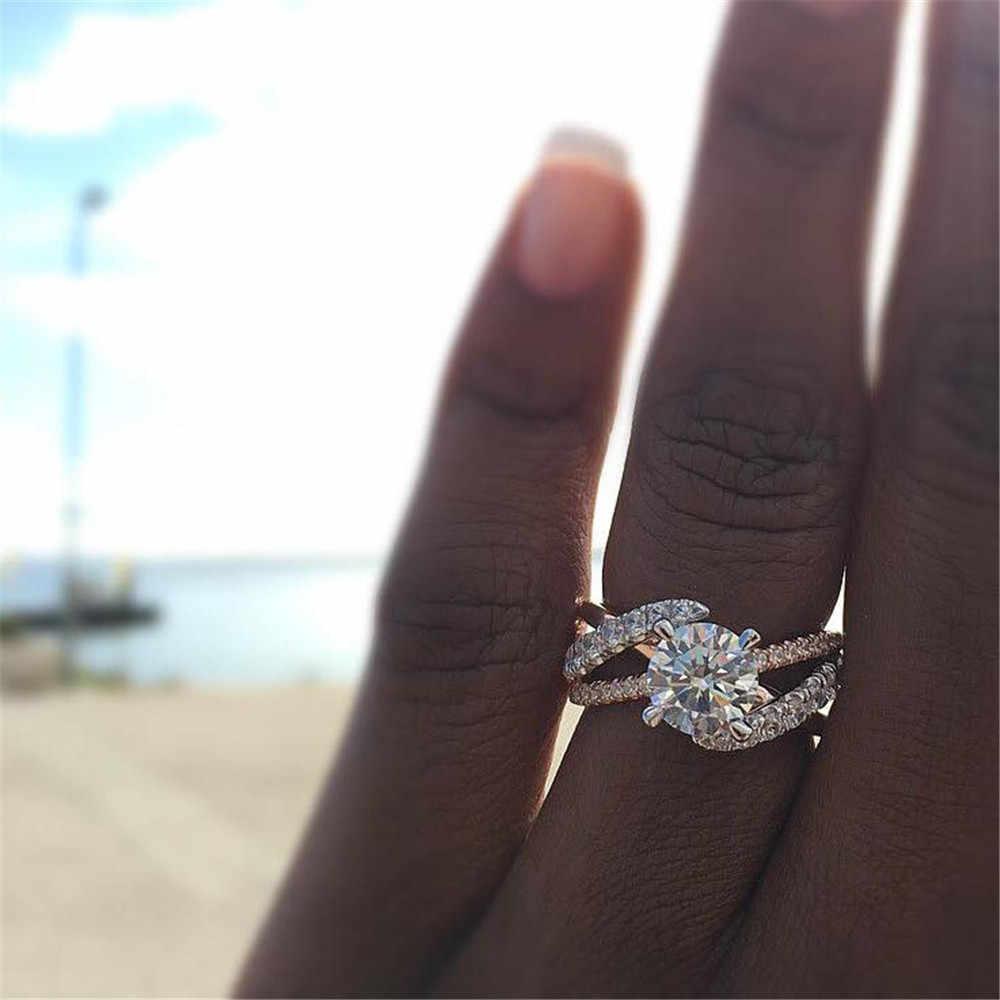 Baru Mawar Emas Cincin untuk Wanita Penuh Kristal Berlian Imitasi Pernikahan Cincin untuk Wanita Aksesoris Wanita Di Jari Cincin Perhiasan Hadiah