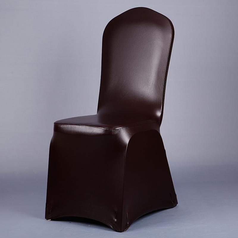 de color marrn oscuro de cuero de la pu silla de comedor de banquetes cubre asiento