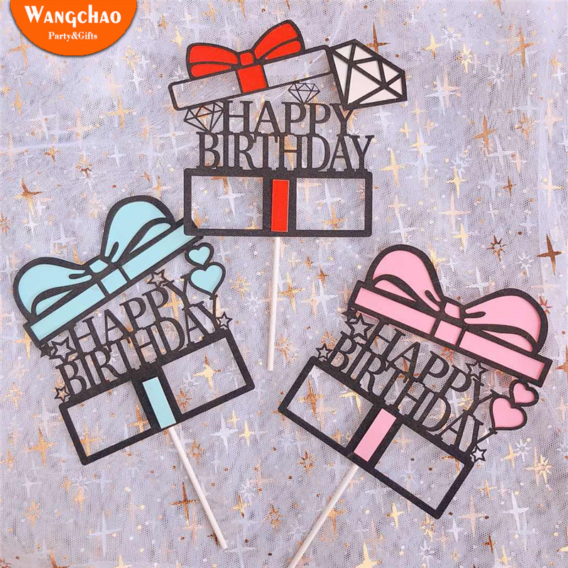 Diamond Gift Cake Topper Happy Birthday Cake Decoration Baby Shower Kids Girls Party Favor Cupcake Toppers Cake Decora Supplies in Cake Decorating Supplies from Home Garden