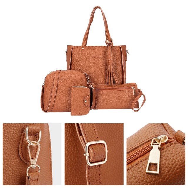 Thinkthendo 4 pçs feminina senhora moda bolsa de ombro tote bolsa mensageiro satchel conjunto 3