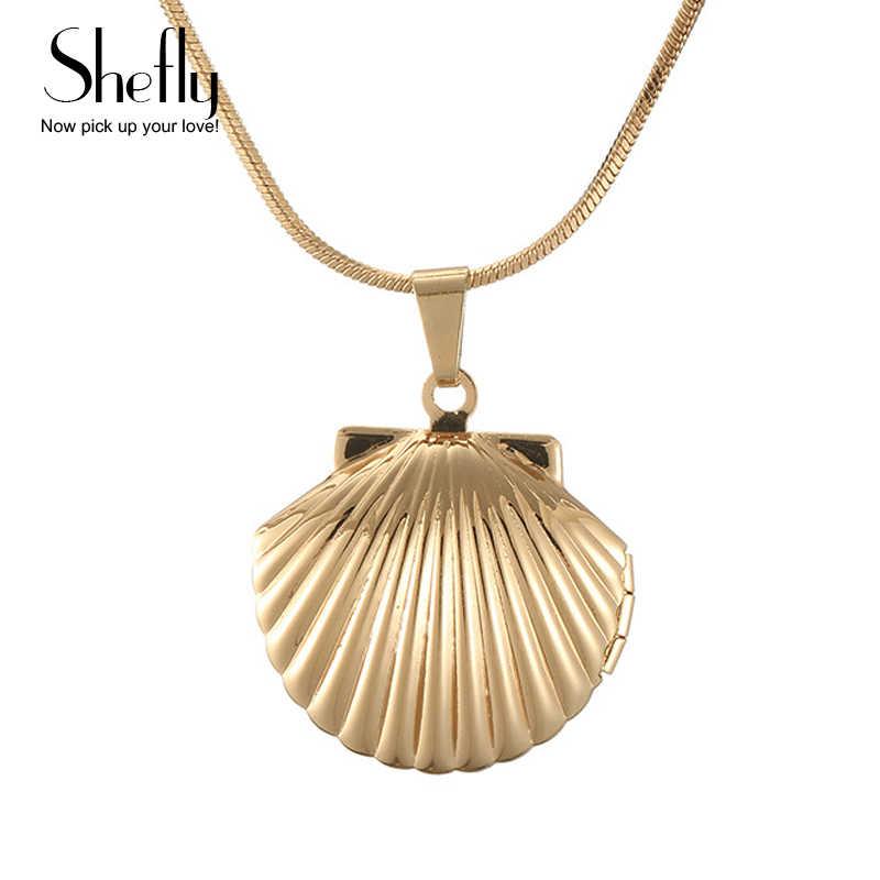 Shefly ヴィンテージアンティーク真鍮人魚海シェルロケットネックレス小さなゴールド貝殻ペンダントジュエリーの誕生日プレゼント襟 concha