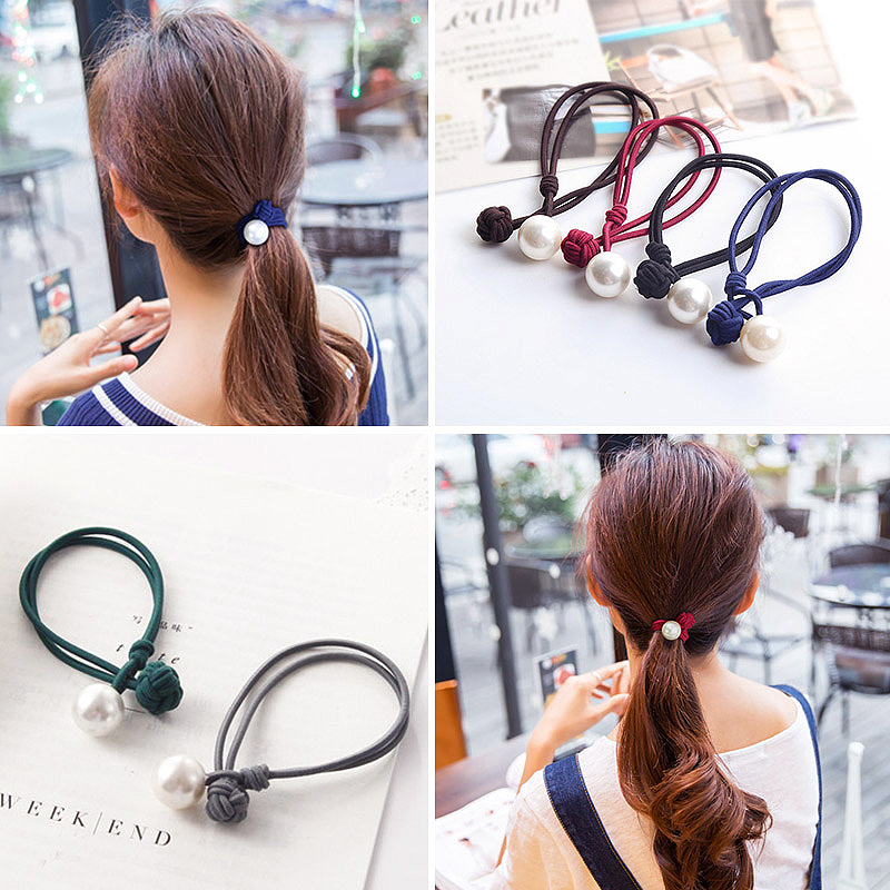 1pc Hot Sale Ponytail Candy Color Beads Hair RopeChinese Knot Women Brief Elastic  Hair Bands Accessories