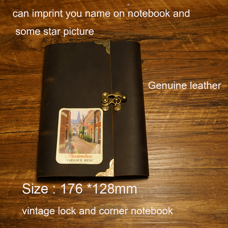 New 2016 handmade travelers notebook genuine leather journal can gift vintage lock loose-leaf paper school supplies notebook standard a4 genuine black leather cover notebook handmade loose leaf kraft line page paper imprint leather monogram notebook
