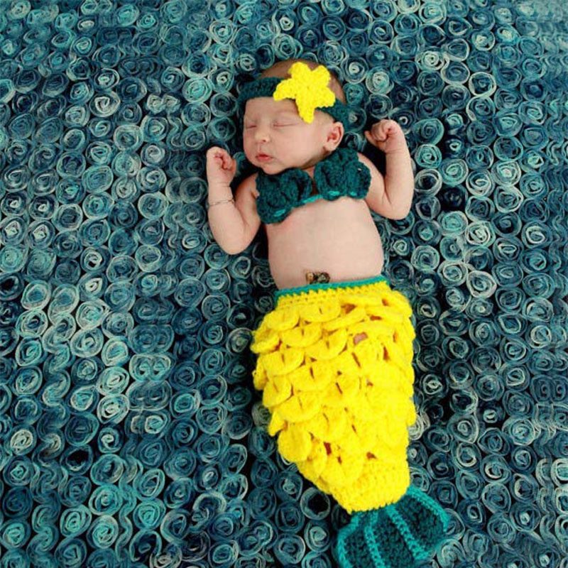 Baby photography props new born mermaid tail costume shooting baby fotografie accessories newborn photo crochet toddler outfits