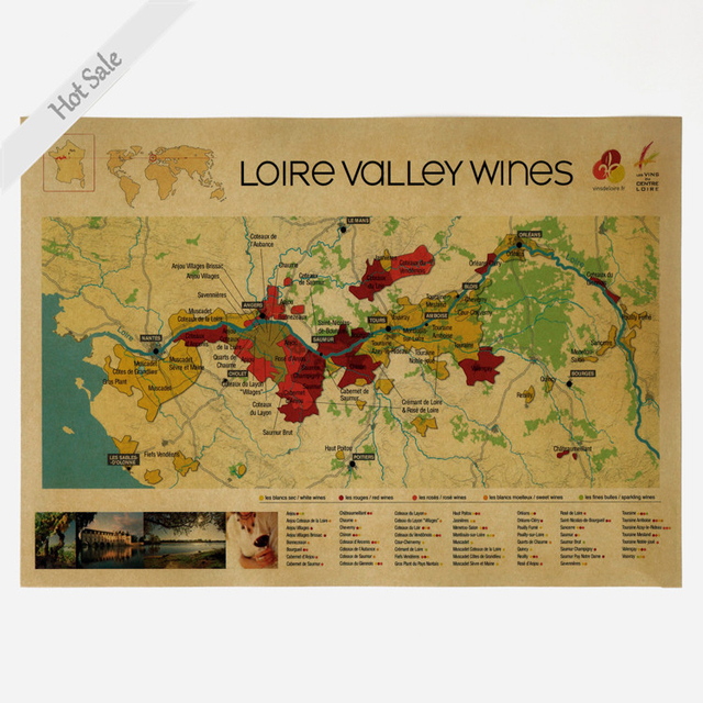 FRANCE WINE MAP Vintage Painting Retro Poster Living Room Home Decor Prints Picture Wall Sticker Artwork