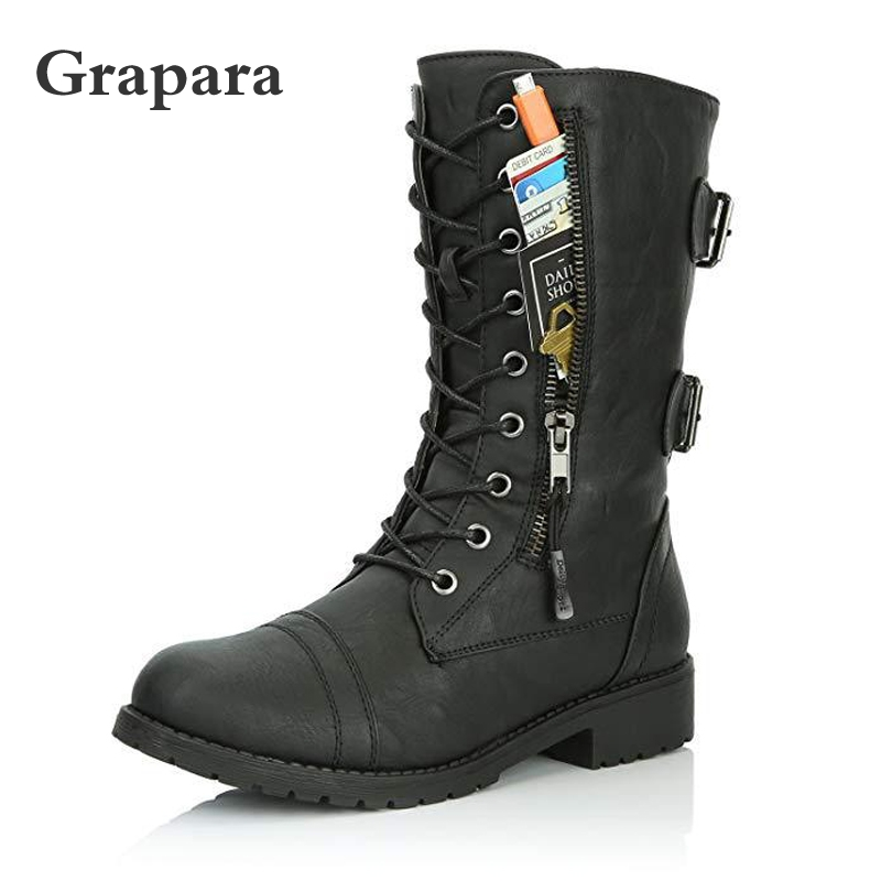Women Boots Zip Buckle Military Combat Boots Credit Card Pocket Booties Lace Up Black Shoes Motorcycle Boots Big Size Grapara