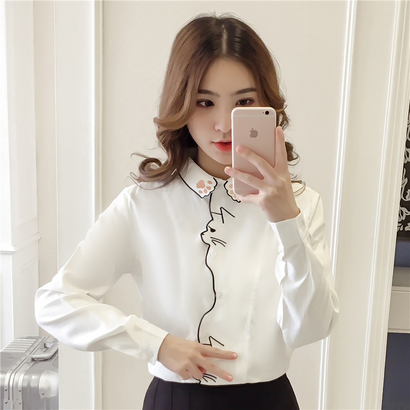 Cute Preppy Style Cartoon Cat Embroidery White Blouse Women Bordered Loose Shirt Tops Long Sleeve Autumn Blusas Feniminas T97890