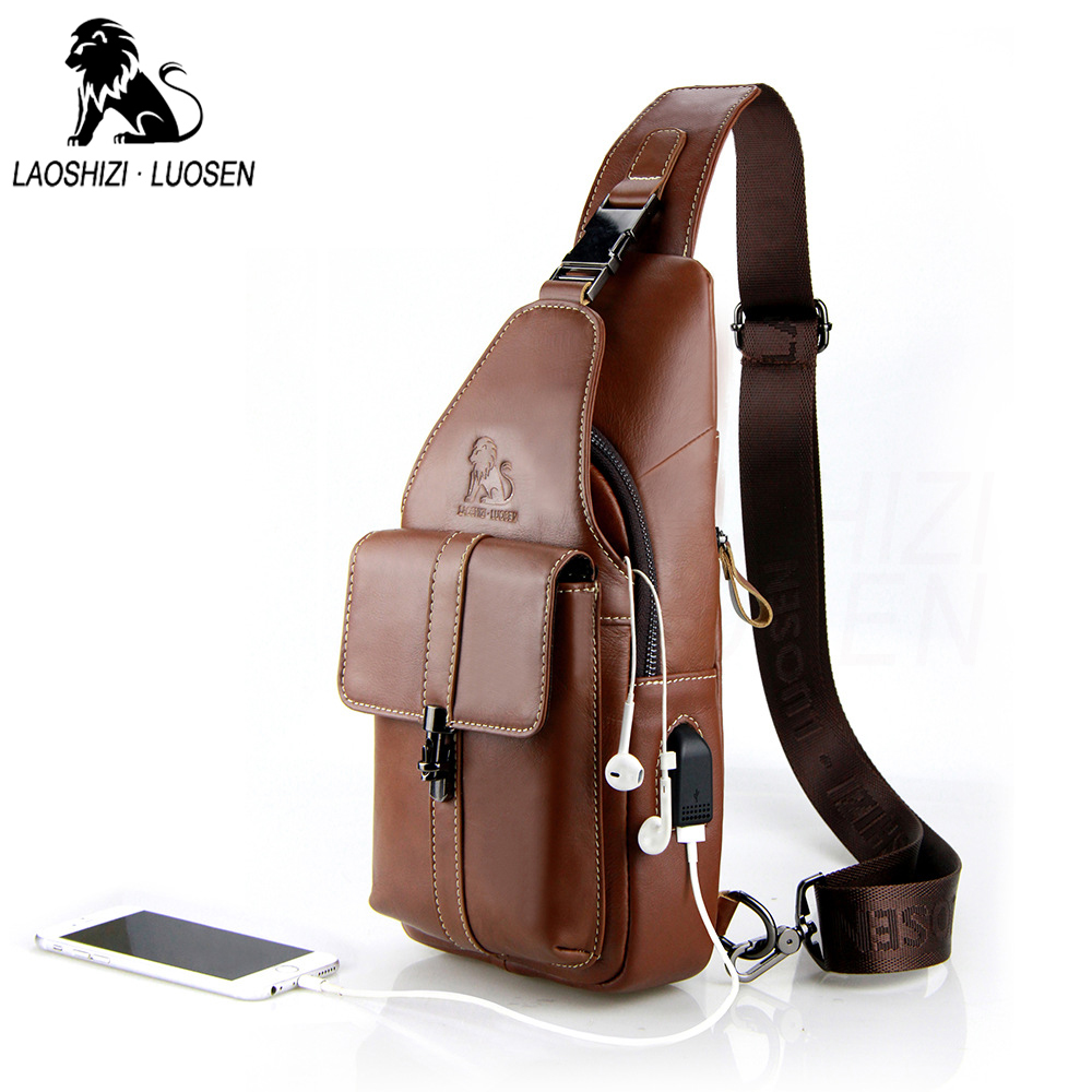 Genuine Leather Shoulder Bags Men S USB Charging Chest Bags USB Fashion Messenger Bag Casual Crossbody