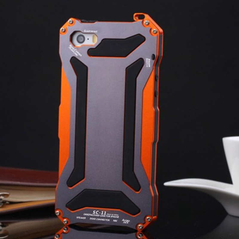 Shockproof Phone Cover For iPhone 5s Full Body Protection Aluminum Gorilla Glass Metal Cover Cell Phone